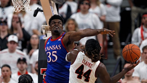 <p>               Kansas' Udoka Azubuike (35) blocks a shot by Texas Tech's Chris Clarke (44) during the first half of an NCAA college basketball game Saturday, March 7, 2020, in Lubbock, Texas. (AP Photo/Brad Tollefson)             </p>