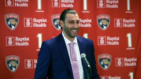 <p>               Former Florida Panthers goalie Roberto Luongo smiles as he speaks during a news conference before a jersey retirement ceremony, Saturday, March 7, 2020, in Sunrise, Fla. (AP Photo/Wilfredo Lee)             </p>