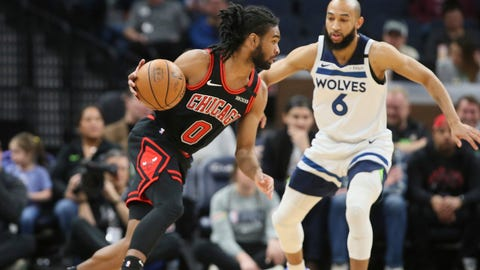 <p>               Chicago Bulls' Coby White, left, drives around Minnesota Timberwolves' Jordan McLaughlin in the first half of an NBA basketball game Wednesday, March 4, 2020 in Minneapolis. (AP Photo/Jim Mone)             </p>