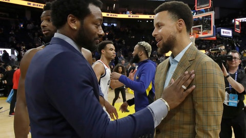 <p>               Injured Washington Wizards guard John Wall, left, talks with injured Golden State Warriors guard Stephen Curry after the Wizards beat the Warriors in an NBA basketball game in San Francisco, Sunday, March 1, 2020. (AP Photo/Jeff Chiu)             </p>