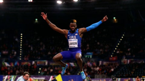 <p>               FILE - In this March 2, 2018, file photo, United States' Jarrion Lawson makes an attempt in the men's long jump final at the World Athletics Indoor Championships in Birmingham, Britain. The agent for Lawson says the American long jumper has been cleared by the Court of Arbitration for Sport in a doping offense involving tainted beef. Paul Doyle says Lawson is eligible to compete effective immediately. (AP Photo/Matt Dunham, File)             </p>