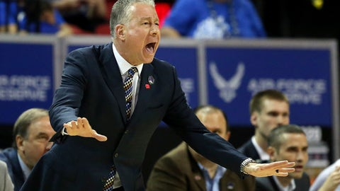 <p>               Air Force head coach Dave Pilipovich instructs his team during the first half of a Mountain West Conference tournament NCAA college basketball game against San Diego State, Thursday, March 5, 2020, in Las Vegas. (AP Photo/Isaac Brekken)             </p>