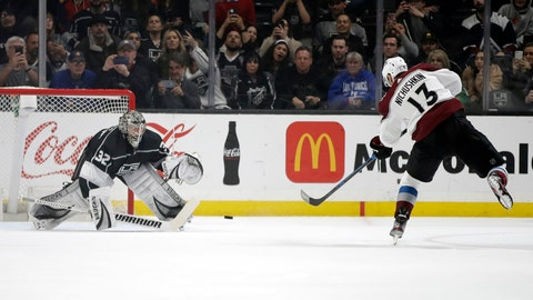 <p>               Los Angeles Kings goaltender Jonathan Quick (32) stops a penalty shot from Colorado Avalanche's Valeri Nichushkin (13) during the second period of an NHL hockey game Monday, March 9, 2020, in Los Angeles. (AP Photo/Marcio Jose Sanchez)             </p>