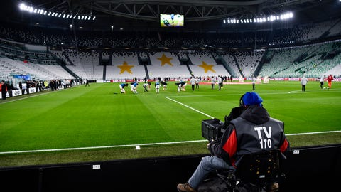 <p>               A view of the empty Juventus stadium, as a measure against coronavirus contagion, prior to the Serie A soccer match between Juventus and Inter, in Turin, Italy, Sunday, March 8, 2020. Serie A played on Sunday despite calls from Italy's sports minister and players' association president to suspend the games in Italy's top soccer division. (Marco Alpozzi/LaPresse via AP)             </p>