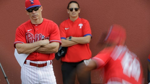 <p>               Philadelphia Phillies manager Joe Girardi watches pitchers in the bullpen during a spring training baseball workout Friday, Feb. 14, 2020, in Clearwater, Fla. (AP Photo/Frank Franklin II)             </p>
