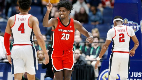 <p>               Georgia forward Rayshaun Hammonds (20) celebrates after a score against Mississippi in the second half of an NCAA college basketball game in the Southeastern Conference Tournament Wednesday, March 11, 2020, in Nashville, Tenn. Georgia won 81-63. (AP Photo/Mark Humphrey)             </p>