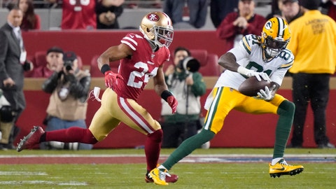 <p>               File-This Jan. 19, 2020, file photo shows Green Bay Packers wide receiver Geronimo Allison (81) catching a pass in front of San Francisco 49ers defensive back K'Waun Williams (24) during the second half of the NFL NFC Championship football game  in Santa Clara, Calif.  The Detroit Lions have agreed to terms with Allison. The 26-year-old Allison comes to Detroit from division rival Green Bay.(AP Photo/Tony Avelar, File)             </p>