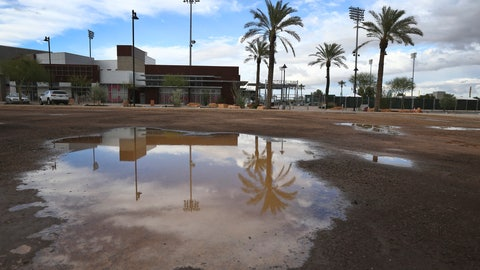 <p>               A puddle in an empty parking lot reflects a closed Goodyear Ballpark, home of the Cleveland Indians and Cincinnati Reds baseball teams, Thursday, March 12, 2020, in Goodyear, Ariz. Major League Baseball has suspended the rest of its spring training game schedule because if the coronavirus outbreak. MLB is also delaying the start of its regular season by at least two weeks. (AP Photo/Ross D. Franklin)             </p>