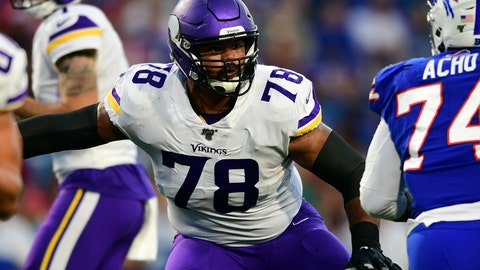 <p>               FILE - In this Aug. 29, 2019, file photo, Minnesota Vikings offensive guard Dakota Dozier (78) blocks during the first half of an NFL preseason football game against the Buffalo Bills in Orchard Park, N.Y. The Vikings have re-signing the veteran guard,  who played in 16 games last season with a career-high four starts. (AP Photo/David Dermer, File)             </p>