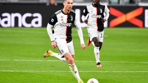 <p>               Juventus' Cristiano Ronaldo controls the ball during the Serie A soccer match between Inter Milan and Juventus at the Allianz Stadium in Turin, Italy, Sunday March 8, 2020. The match was played to a closed stadium as a measure against coronavirus contagion. (Marco Alpozzi/LaPresse via AP)             </p>