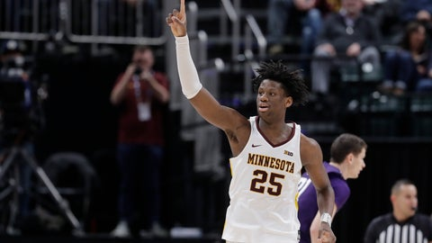 <p>               Minnesota's Daniel Oturu (25) reacts during the second half of an NCAA college basketball game against Northwestern at the Big Ten Conference tournament, Wednesday, March 11, 2020, in Indianapolis. Minnesota won 74-57. (AP Photo/Darron Cummings)             </p>