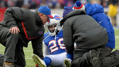<p>               FILE - In this Dec. 17, 2017, file photo, Buffalo Bills E.J. Gaines (28) reacts after being injured during the second half of an NFL football game against the Miami Dolphins, Sunday,, in Orchard Park, N.Y. The Bills are giving oft-injured cornerback E.J. Gaines a third opportunity to resume his career by agreeing to a one-year contract. This marks the second consecutive offseason Gaines has signed with Buffalo.(AP Photo/Adrian Kraus, File)             </p>