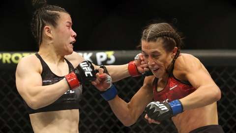 <p>               Zhang Weili, left, connects with a punch to Joanna Jedrzejczyk during the second round of a women's strawweight UFC 248 mixed martial arts bout Saturday, March 7, 2020, in Las Vegas. (L.E. Baskow/Las Vegas Review-Journal via AP)             </p>
