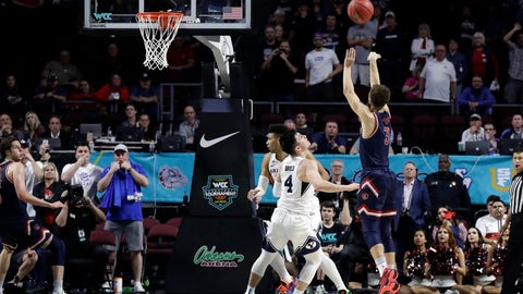 <p>               Saint Mary's Jordan Ford (3) sinks a game winning shot against BYU with seconds remaining in the second half of an NCAA college basketball game in the West Coast Conference men's tournament Monday, March 9, 2020, in Las Vegas. Saint Mary's won 51-50. (AP Photo/Isaac Brekken)             </p>
