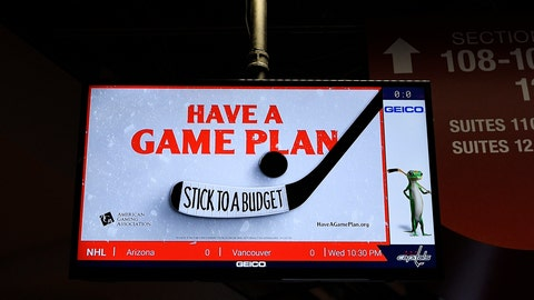 "<p>               An ad for the American Gaming Association is seen tested on a screen after an NHL hockey game between the Washington Capitals and the Philadelphia Flyers, Wednesday, March 4, 2020, in Washington. The gambling industry is launching a campaign to urge sports bettors to wager responsibly, including setting and sticking to a budget, and learning thoroughly about anything on which they make a bet. The gaming association on Thursday launched its ""Have A Game Plan"" campaign in hockey arenas in Washington and Las Vegas. (AP Photo/Nick Wass)             </p>"