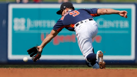 <p>               Houston Astros shortstop Jack Mayfield dives for a ground ball single by New York Mets' Michael Conforto during the third inning of a spring training baseball game Saturday, Feb. 29, 2020, in West Palm Beach, Fla. (AP Photo/Jeff Roberson)             </p>