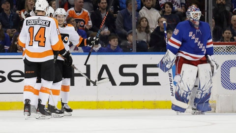 <p>               New York Rangers goaltender Henrik Lundqvist, right, reacts as the Philadelphia Flyers celebrates a goal by Travis Konecny, second from right, during the second period of the NHL hockey game, Sunday, March 1, 2020, in New York. (AP Photo/Seth Wenig)             </p>