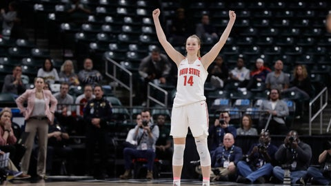 <p>               Ohio State's Dorka Juhasz (14) celebrates during the second half of an NCAA college basketball semifinal game against Michigan at the Big Ten Conference tournament, Saturday, March 7, 2020, in Indianapolis. Ohio State won 66-60. (AP Photo/Darron Cummings)             </p>