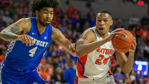 <p>               Florida forward Kerry Blackshear Jr. (24) drives ato the basket against Kentucky forward Nick Richards (4) during the first half of an NCAA college basketball game Saturday, March 7, 2020, in Gainesville, Fla. (AP Photo/Alan Youngblood)             </p>