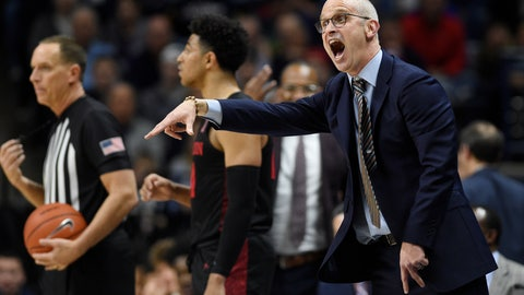 <p>               Connecticut head coach Dan Hurley reacts in the second half of an NCAA college basketball game against Houston, Thursday, March 5, 2020, in Storrs, Conn. (AP Photo/Jessica Hill)             </p>
