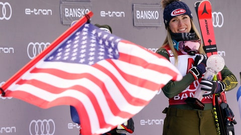 <p>               United States' Mikaela Shiffrin is fried by a US flag as she smiles on the podium after winning an alpine ski, women's World Cup super-G, in Bansko, Bulgaria, Sunday, Jan. 26, 2020. (AP Photo/Giovanni Auletta)             </p>