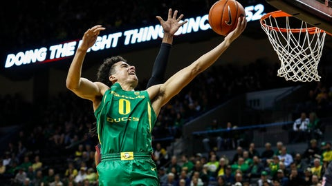<p>               Oregon guard Will Richardson (0) lays in a basket against Stanford during the first half of an NCAA college basketball game in Eugene, Ore., Saturday, March 7, 2020. (AP Photo/Thomas Boyd)             </p>