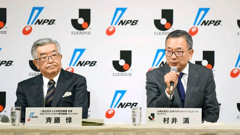 <p>               Japan Pro-Baseball Commissioner Atsushi Saito, left, and J-League Chairman Mitsuru Murai attend a press conference at a hotel in Tokyo Monday, March 2, 2020. The opening of Japanese professional baseball's regular season is in doubt over the outbreak of the new virus, they said Monday, as the nation's baseball and soccer leagues tapped three medical experts as advisers. (Ren Onuma/Kyodo News via AP)             </p>