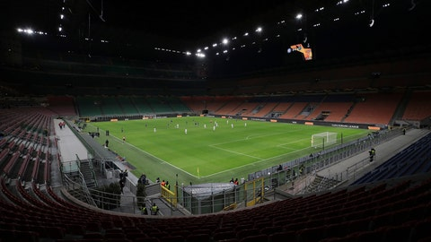<p>               FILE - The seats are empty as a precaution against the coronavirus at the San Siro stadium in Milan, Italy, during the Europa League round of 32 second leg soccer match between Inter Milan and Ludogorets on Thursday, Feb. 27, 2020. (Emilio Andreoli, UEFA via AP, File)             </p>
