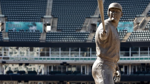 <p>               A statue of former Cleveland Indians Jim Thome stands in an empty Progressive Field, Thursday, March 26, 2020, in Cleveland. The Cleveland Indians were scheduled to play the Detroit Tigers in an Opening Day baseball game Thursday but the season has been postponed due to the coronavirus. (AP Photo/Tony Dejak)             </p>