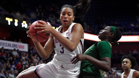 <p>               Connecticut's Megan Walker pulls down a rebound over South Florida's Bethy Mununga, right, during the first half of an NCAA college basketball game in the American Athletic Conference tournament seminfals at Mohegan Sun Arena, Sunday, March 8, 2020, in Uncasville, Conn. (AP Photo/Jessica Hill)             </p>