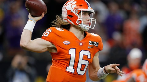 <p>               Clemson quarterback Trevor Lawrence passes against LSU during the second half of a NCAA College Football Playoff national championship game Monday, Jan. 13, 2020, in New Orleans. (AP Photo/Gerald Herbert)             </p>