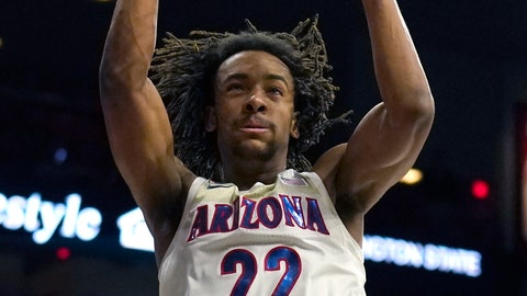 <p>               Arizona forward Zeke Nnaji dunks against Washington State during the second half of an NCAA college basketball game Thursday, March 5, 2020, in Tucson, Ariz. Arizona won 83-62. (AP Photo/Rick Scuteri)             </p>