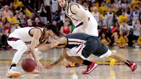 <p>               Arizona State guard Jaelen House, left, and Washington State guard Isaac Bonton, right battle for a loose ball during the first half of an NCAA college basketball game Saturday, March 7, 2020, in Tempe, Ariz. (AP Photo/Matt York)             </p>