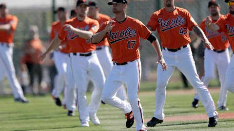 <p>               Baltimore Orioles starting pitcher Alex Cobb (17) and relief pitcher Shawn Armstrong (43) and other pitchers warm up during spring training baseball, Saturday, Feb. 15, 2020, in Sarasota, Fla. (AP Photo/John Bazemore)             </p>