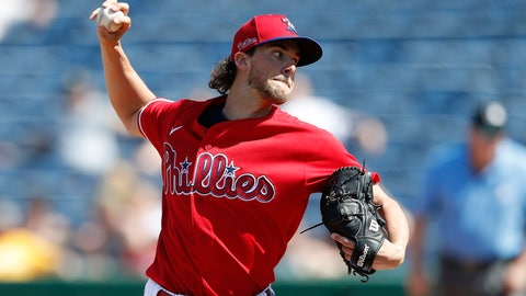 <p>               Philadelphia Phillies starting pitcher Aaron Nola throws during the third inning of a spring training baseball game against the Pittsburgh Pirates, Wednesday, March 4, 2020, in Clearwater, Fla. (AP Photo/Carlos Osorio)             </p>