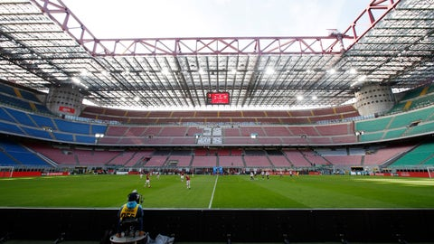 <p>               A view of the empty stadium during the Serie A soccer match between AC Milan and Genoa at the San Siro stadium, in Milan, Italy, Sunday, March 8, 2020. Serie A played on Sunday despite calls from Italy's sports minister and players' association president to suspend the games in Italy's top soccer division. (AP Photo/Antonio Calanni)             </p>
