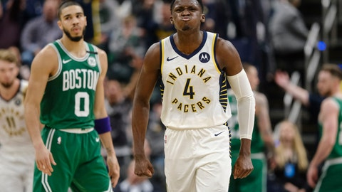 <p>               Indiana Pacers guard Victor Oladipo (4) reacts to making a shot late in the fourth quarter against the Boston Celtics in an NBA basketball game in Indianapolis, Tuesday, March 10, 2020. (AP Photo/AJ Mast)             </p>
