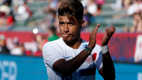 <p>               United States forward Ulysses Llanez (19) walks off the field during the second half of an international friendly soccer match against Costa Rica in Carson, Calif., Saturday, Feb. 1, 2020. The U.S. won 1-0. (AP Photo/Ringo H.W. Chiu)             </p>