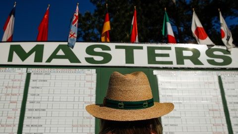 <p>               FILE - In this April 5, 2018, file photo, Anna Lee Lavarnway looks at the leaderboard during the first round at the Masters golf tournament in Augusta, Ga. Augusta National decided Friday, March 13, 2020, to postpone the Masters because of the spread of the coronavirus. Club chairman Fred Ridley says he hopes postponing the event puts Augusta National in the best position to host the Masters and its other two events at some later date. Ridley did not say when it would be held. (AP Photo/Charlie Riedel, File)             </p>