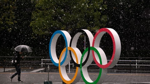 <p>               Snow falls on the Olympic rings near the New National Stadium in Tokyo, Saturday, March 14, 2020. (AP Photo/Jae C. Hong)             </p>