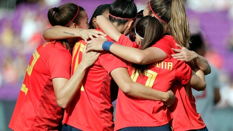 <p>               Spain's players celebrate a goal against Japan during the first half of a She Believes Cup soccer match Thursday, March 5, 2020, in Orlando, Fla. (AP Photo/John Raoux)             </p>