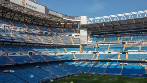 <p>               General view of the Santiago Bernabeu stadium in Madrid, Spain, Tuesday, March 10, 2020. All upcoming professional soccer games in Spain, France and Portugal, as well as some in Germany and a European Championship qualifying match in Slovakia, will be played in empty stadiums because of the coronavirus outbreak. For most people, the new coronavirus causes only mild or moderate symptoms, such as fever and cough. For some, especially older adults and people with existing health problems, it can cause more severe illness, including pneumonia. (AP Photo)             </p>