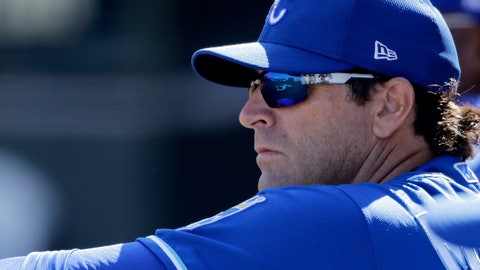 <p>               Kansas City Royals manager Mike Matheny watches from the dugout during the second inning of a spring training baseball game against the San Diego Padres Monday, Feb. 24, 2020, in Surprise, Ariz. (AP Photo/Charlie Riedel)             </p>