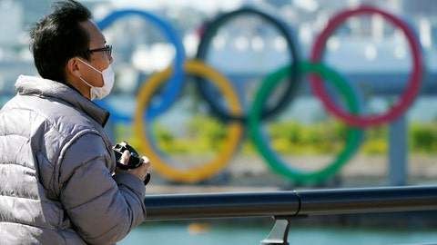 <p>               A visitor wearing a face mask stands near the Olympic rings at Tokyo's Odaiba district Tuesday, March 24, 2020. The Tokyo Olympics are probably going to happen, but almost surely in 2021 rather than in four months as planned. (AP Photo/Eugene Hoshiko)             </p>