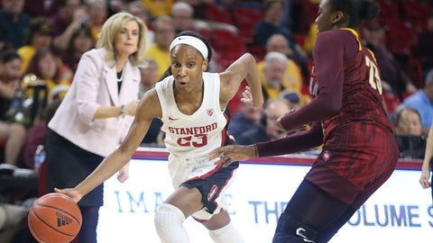 <p>               Stanford's Kiana Williams, front left, drives around Arizona State's Iris Mbulito, right, during the first half of an NCAA college basketball game Sunday, March 1, 2020, in Tempe, Ariz. (AP Photo/Darryl Webb)             </p>