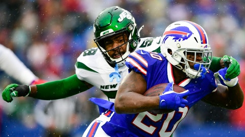 <p>               FILE - In this Dec. 29, 2019, file photo, Buffalo Bills running back Frank Gore (20) runs past New York Jets outside linebacker James Burgess (58) during the first half of an NFL football game in Orchard Park, N.Y. The Jets and Burgess have agreed to terms on a one-year deal, agent Drew Rosenhaus told The Associated Press. (AP Photo/David Dermer, File)             </p>