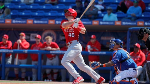 <p>               St. Louis Cardinals' Paul Goldschmidt (46) follows through on a solo home run during the first inning of a spring training baseball game against the New York Mets Friday, Feb. 28, 2020, in Port St. Lucie, Fla. (AP Photo/Jeff Roberson)             </p>