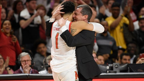 <p>               Maryland head coach Mark Turgeon, right, hugs guard Anthony Cowan Jr. (1) after Cowan came out of an NCAA college basketball game against Michigan during the second half Sunday, March 8, 2020, in College Park, Md. (AP Photo/Nick Wass)             </p>