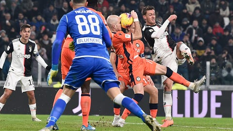 <p>               Juventus' Daniele Rugani, right, in action during the Italian Cup soccer match between Juventus and Udinese, at the Allianz Stadium in Turin, Italy, Wednesday, Jan. 15, 2020. (Fabio Ferrari/LaPress via AP)             </p>