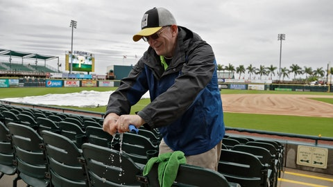 "<p>               FILE - In this March 19, 2019, file photo, Chuck Speer wrings out a rag after drying seats off at LECOM Park before a spring training baseball game between the Pittsburgh Pirates and the Detroit Tigers in Bradenton, Fla. The Pittsburgh Pirates have given their spring training home a deep clean as a proactive measure after a man in Manatee County tested positive for coronavirus. Pirates spokesman Brian Warecki said workers sanitized the clubhouse, press box, concession stands and other areas of LECOM Park in an ""overabundance of caution."" LECOM Park is located in downtown Bradenton, which is in the middle of Manatee County. The cleaning was done on Tuesday, March 3, 2020, a scheduled day off for the Pirates. (AP Photo/Chris O'Meara, File)             </p>"
